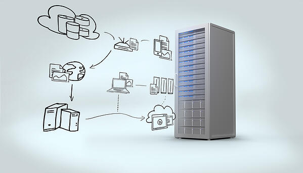 Cloud computing doodle against digitally generated grey server tower
